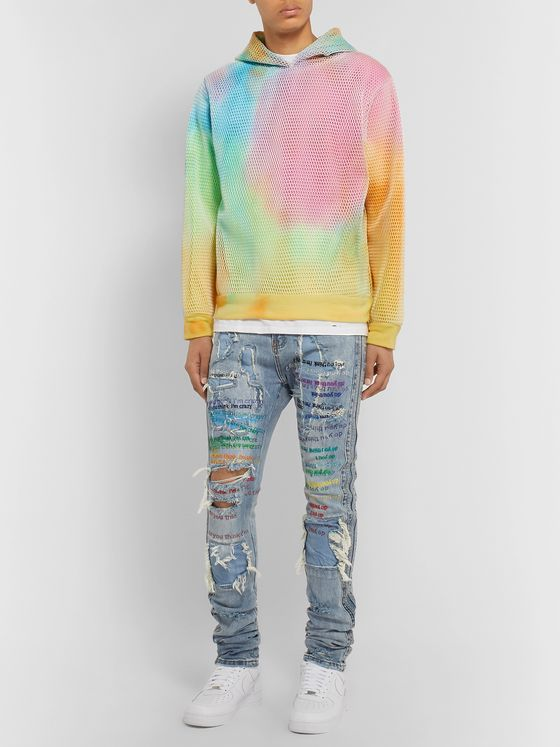 EV BRAVADO Layered Mesh and Tie-Dyed Loopback Cotton-Jersey Hoodie
