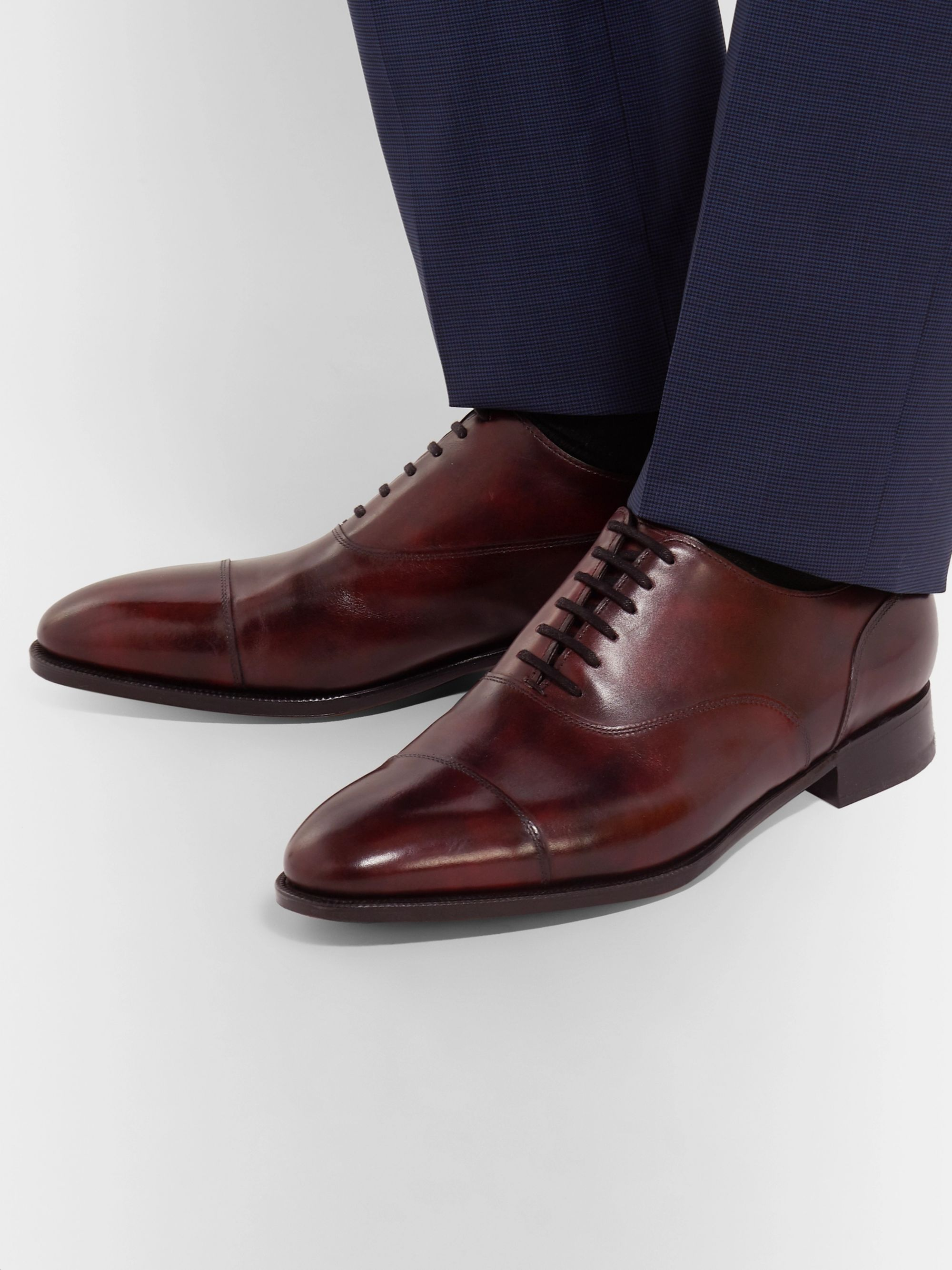 John Lobb Alford Museum Burnished-Leather Cap-Toe Oxford Shoes