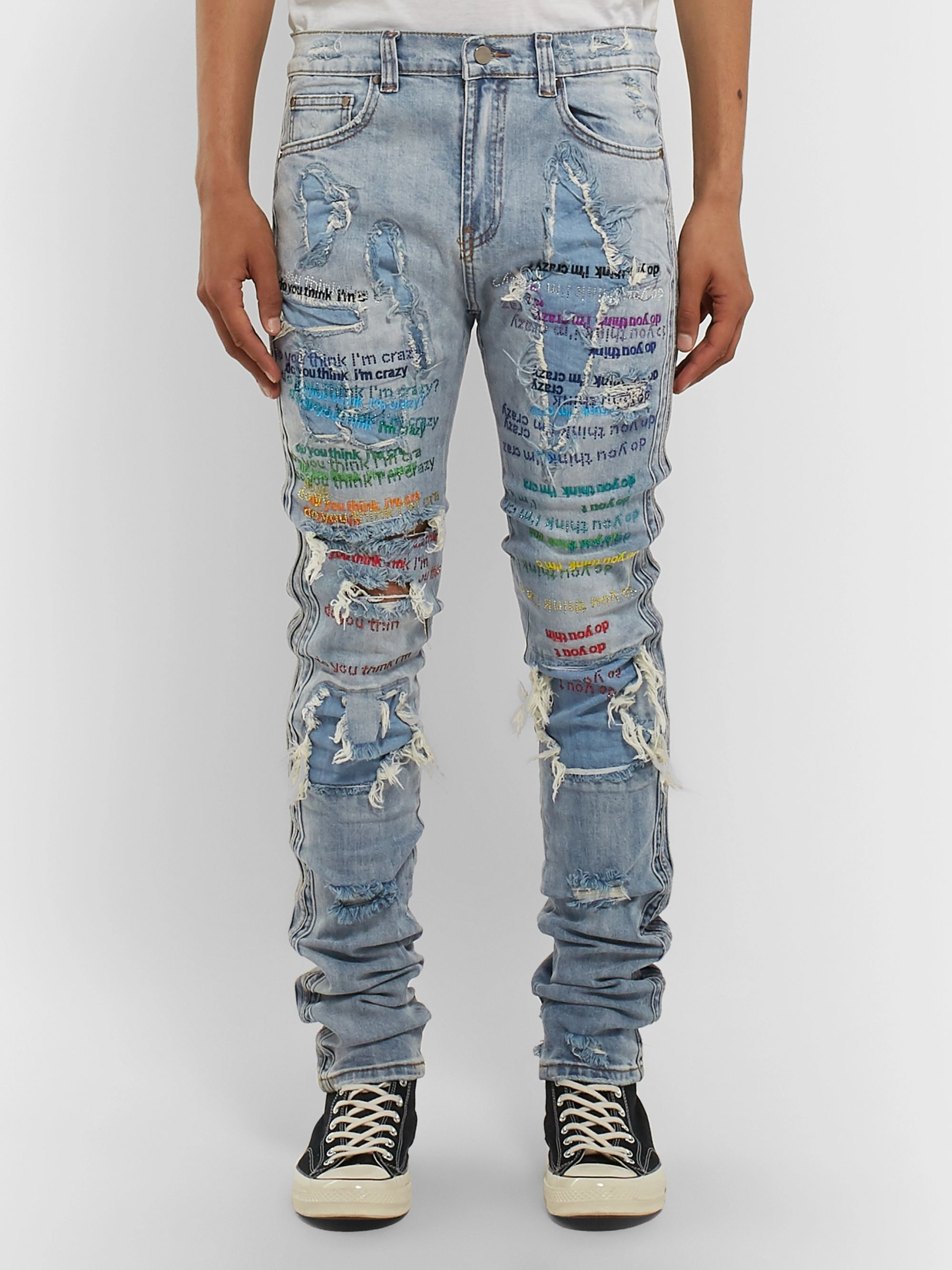 EV BRAVADO Skinny-Fit Embellished Embroidered Distressed Denim Jeans