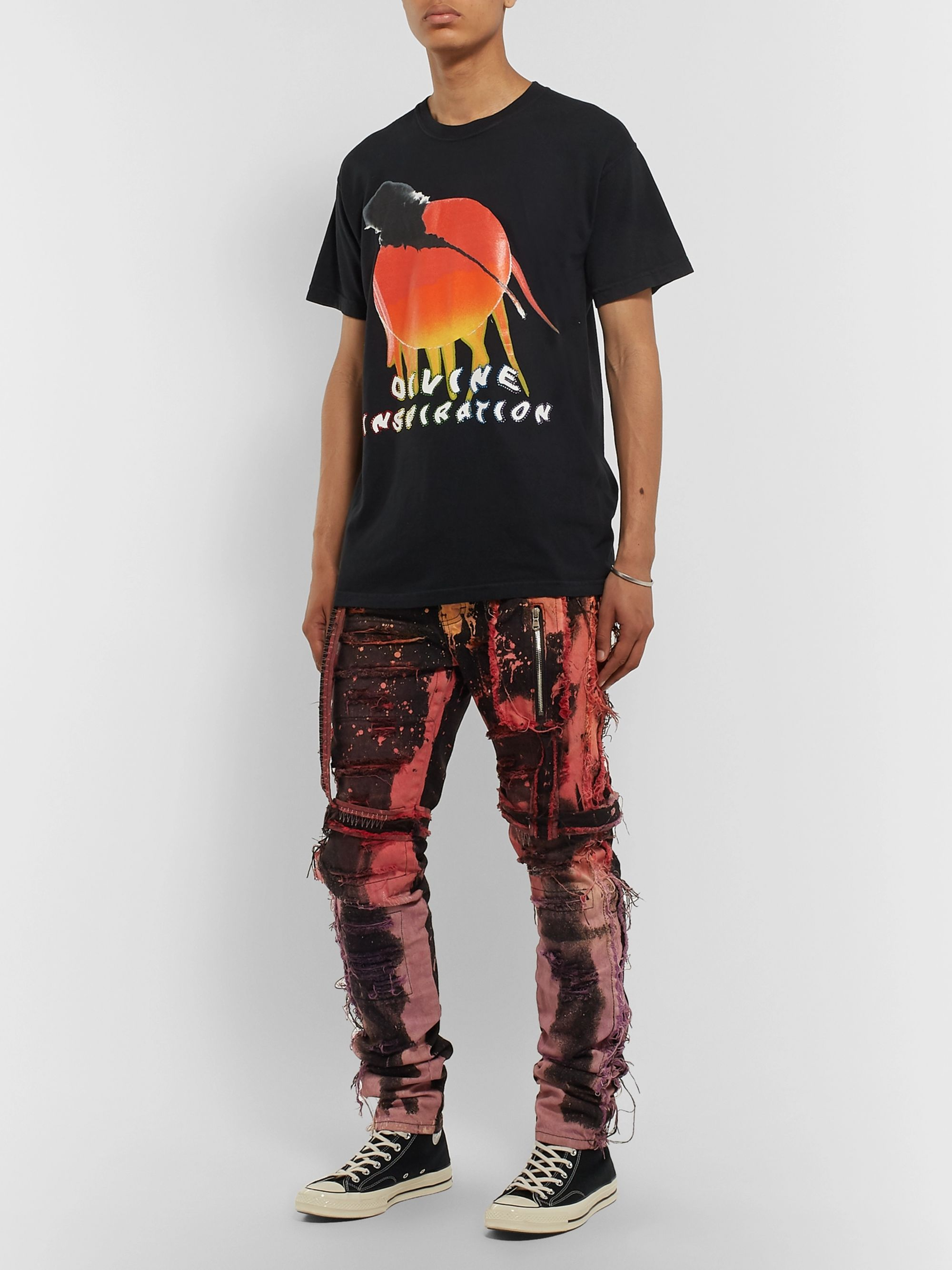 EV BRAVADO Skinny-Fit Strap-Detailed Distressed Tie-Dyed Denim Jeans