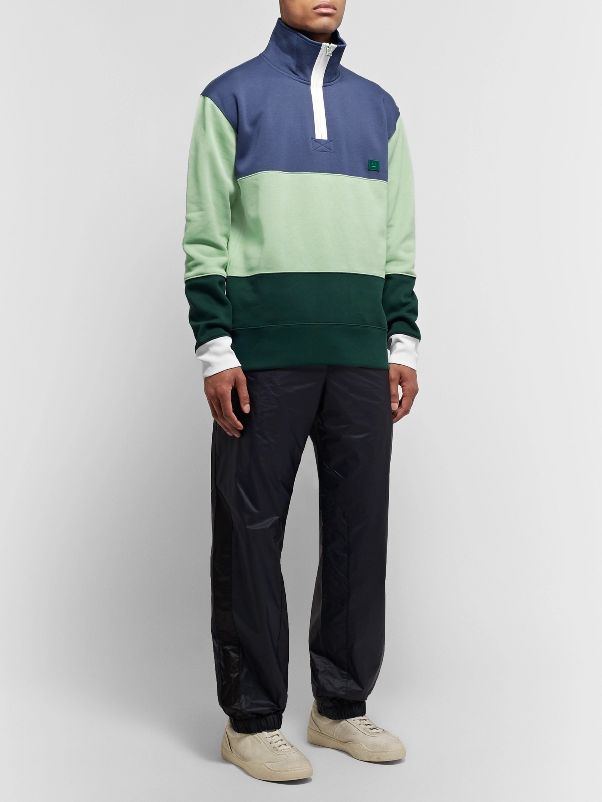 Acne Studios Oversized Appliquéd Fleece-Back Cotton-Jersey Half-Zip Sweatshirt