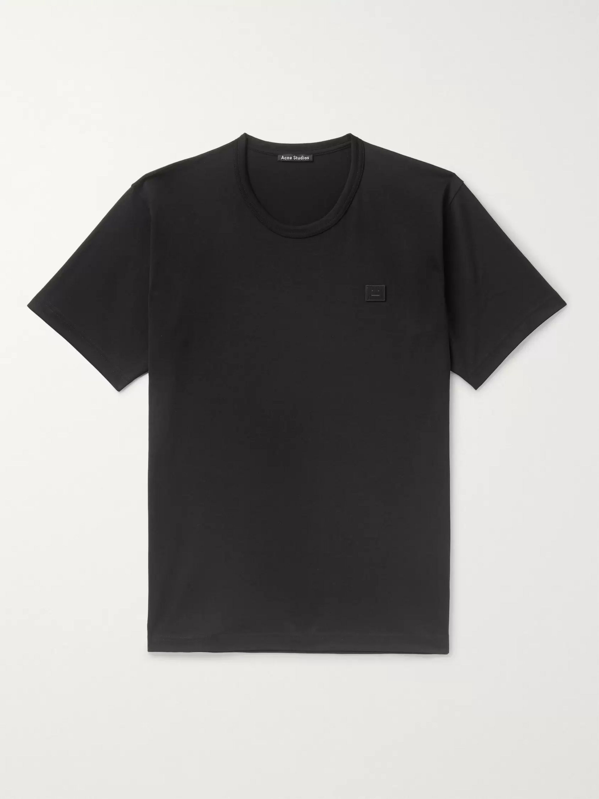 아크네 스튜디오 Acne Studios Logo-Appliqued Cotton-Jersey T-Shirt,Black
