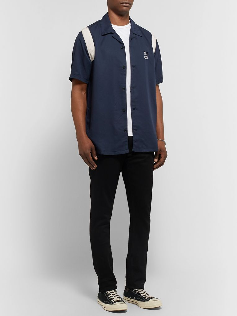 Nudie Jeans Jack Camp-Collar Logo-Embroidered Tencel Shirt