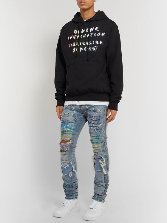 EV BRAVADO Embellished Printed Fleece-Back Cotton-Blend Jersey Hoodie