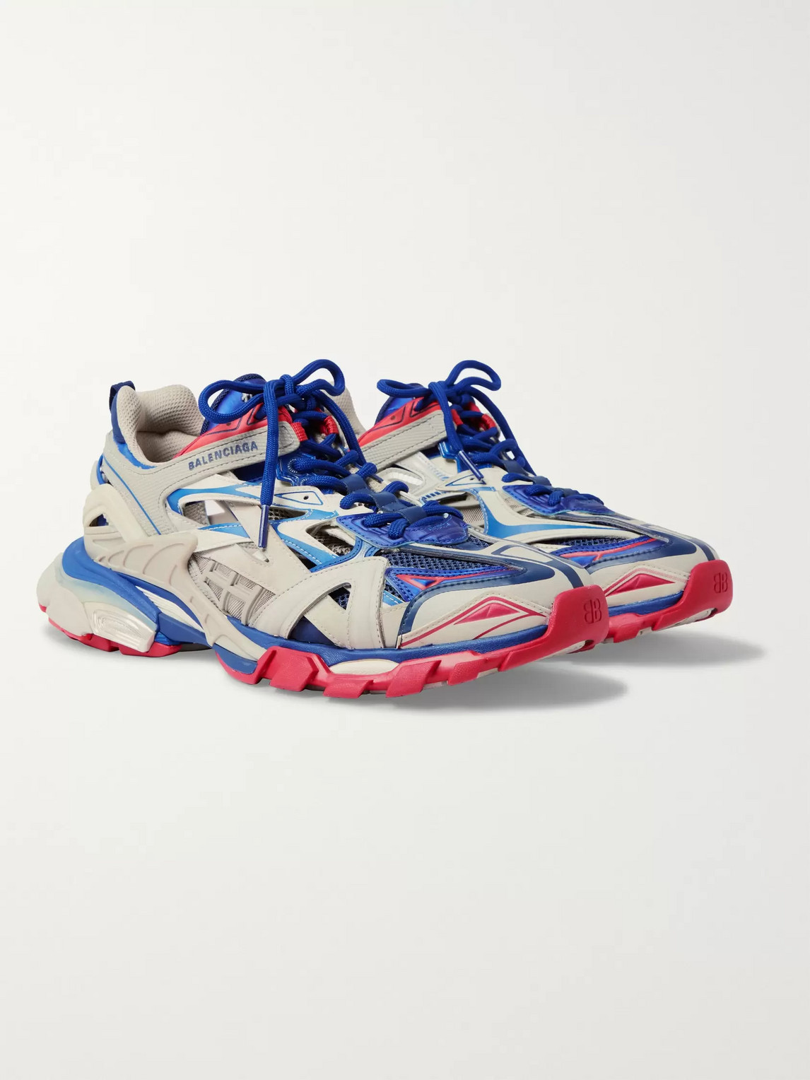 Balenciaga White Men S Blue And Red Track 2 Caged Sneakers Modesens
