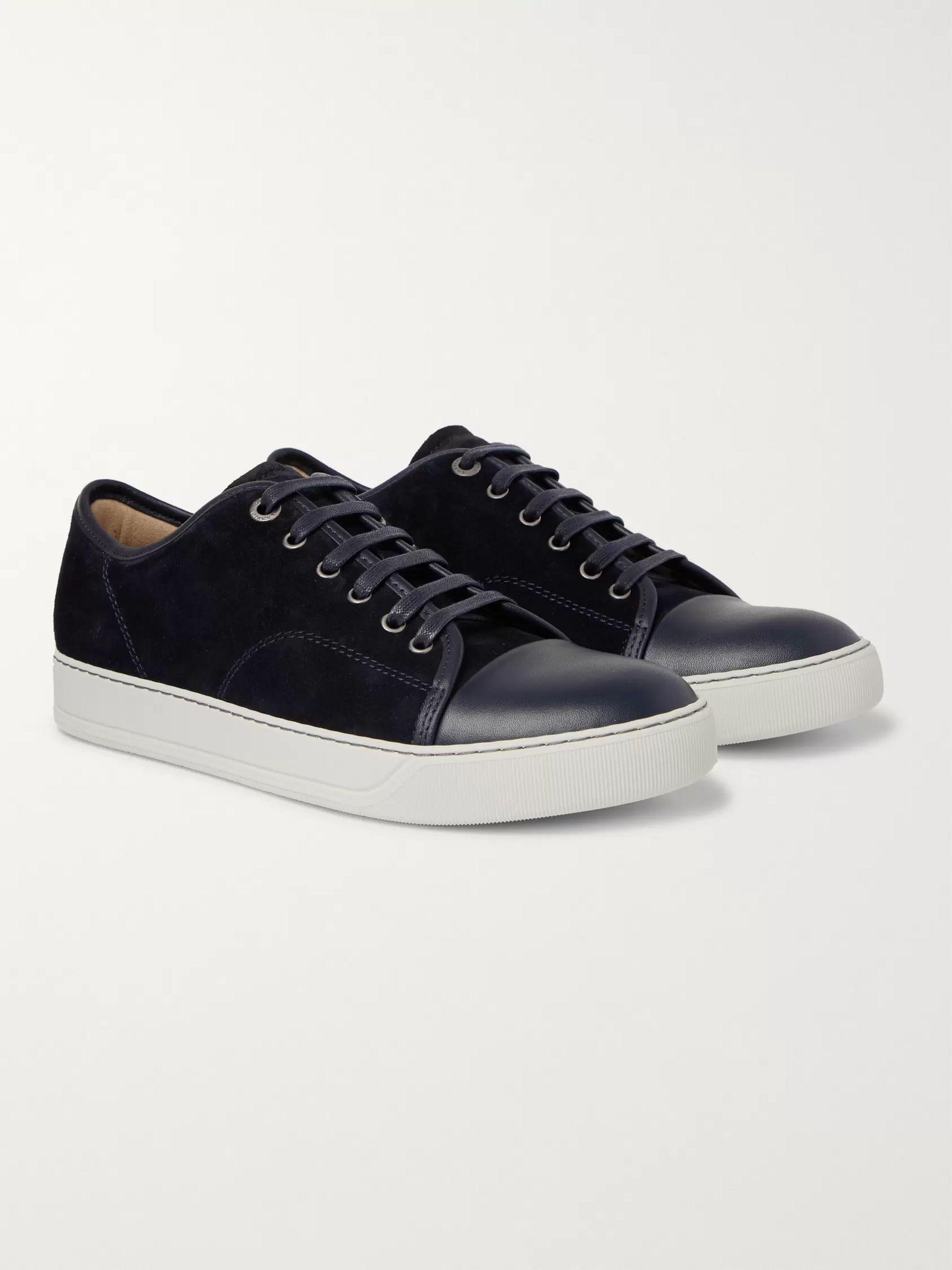 bedst sælge uk billigt salg ret cool Cap-Toe Suede and Leather Sneakers