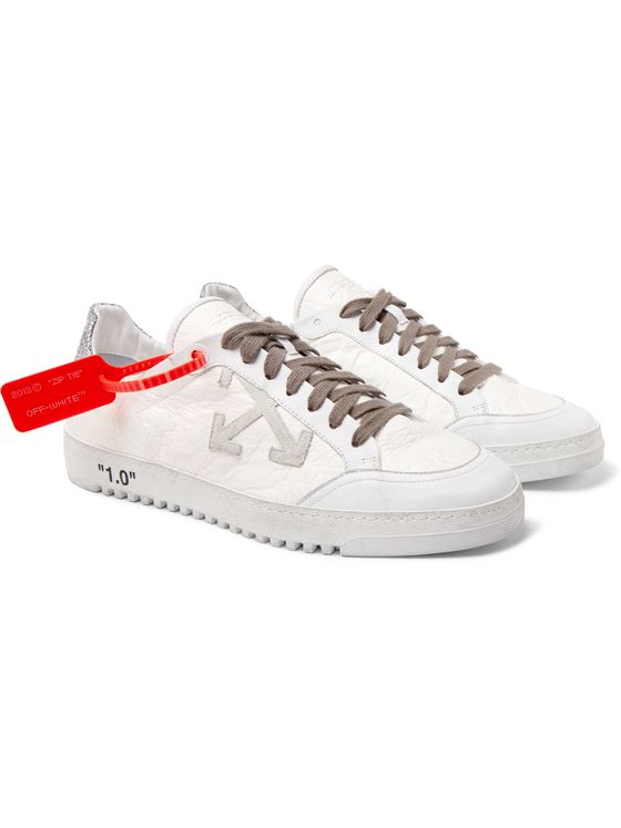Off-White 2.0 Glittered Textured-Leather Sneakers