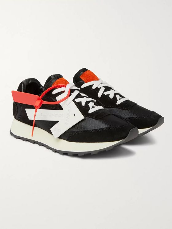 Off-White Runner Leather-Trimmed Suede and Shell Sneakers