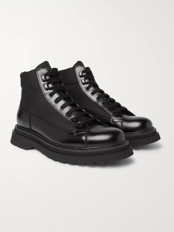 Prada Spazzolato Leather and Canvas Boots
