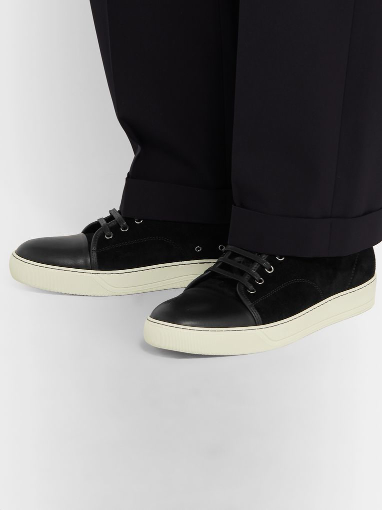Lanvin Cap-Toe Suede and Leather Sneakers