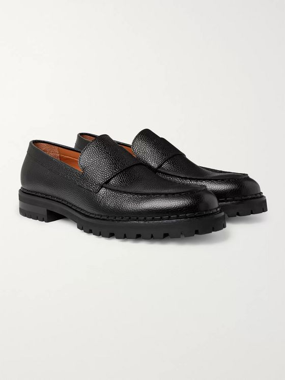 Lanvin Pebble-Grain Leather Loafers
