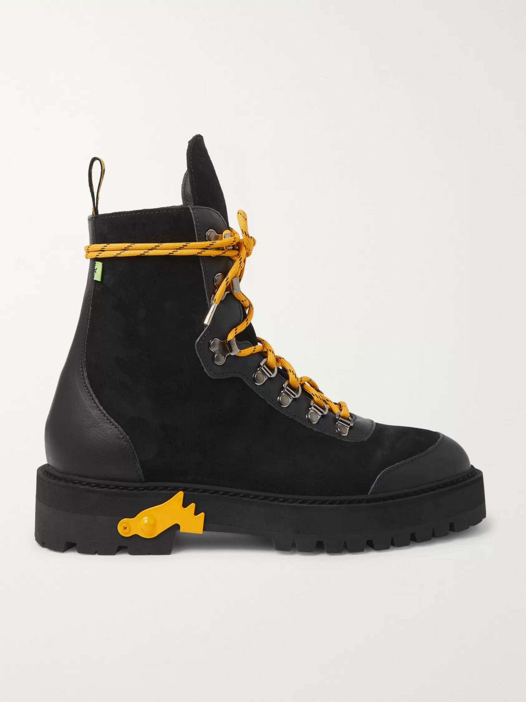 Off-White Leather-Trimmed Suede Boots