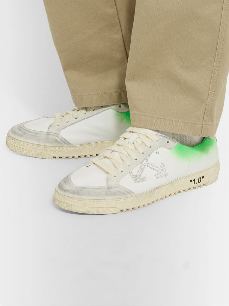 Off-White 2.0 Distressed Suede-Trimmed Leather Sneakers