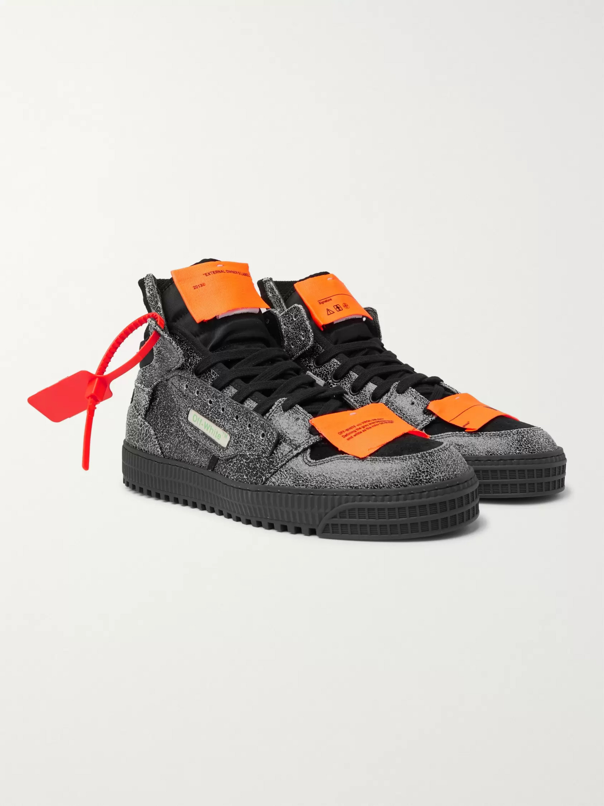 Off-White Off-Court Textured-Leather, Suede and Canvas High-Top Sneakers