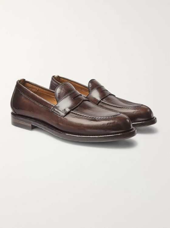 Officine Creative Ivy Burnished-Leather Penny Loafers