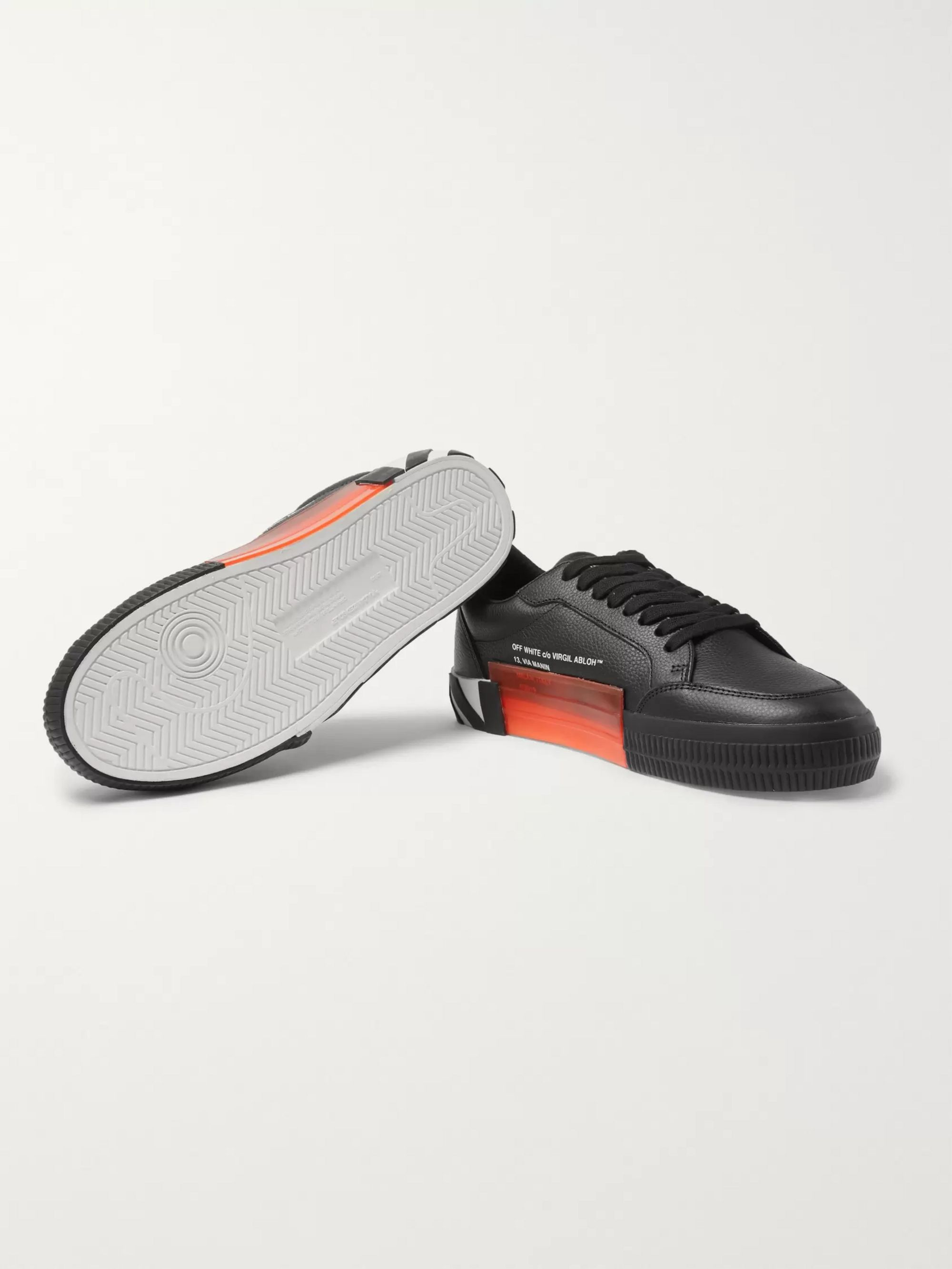 Off-White Suede-Trimmed Full-Grain Leather Sneakers