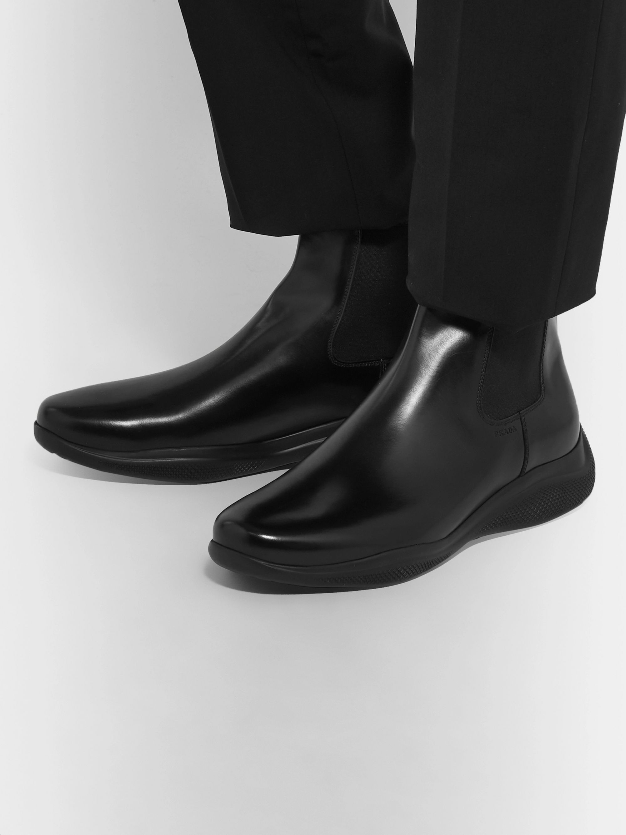 Prada Spazzolato Leather Chelsea Boots