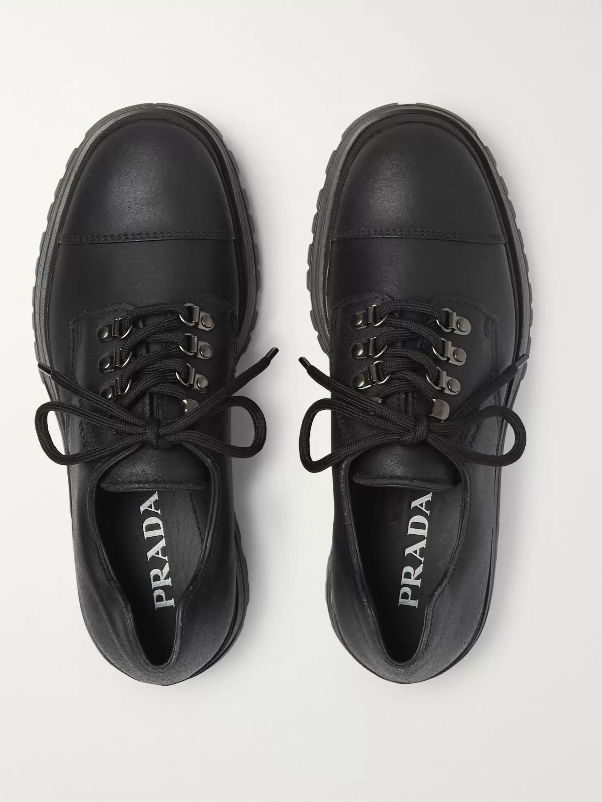 Prada Cap-Toe Leather Derby Shoes