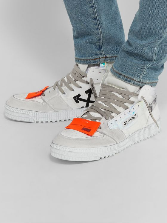 Off-White Off-Court Distressed Suede, Leather and Canvas High-Top Sneakers