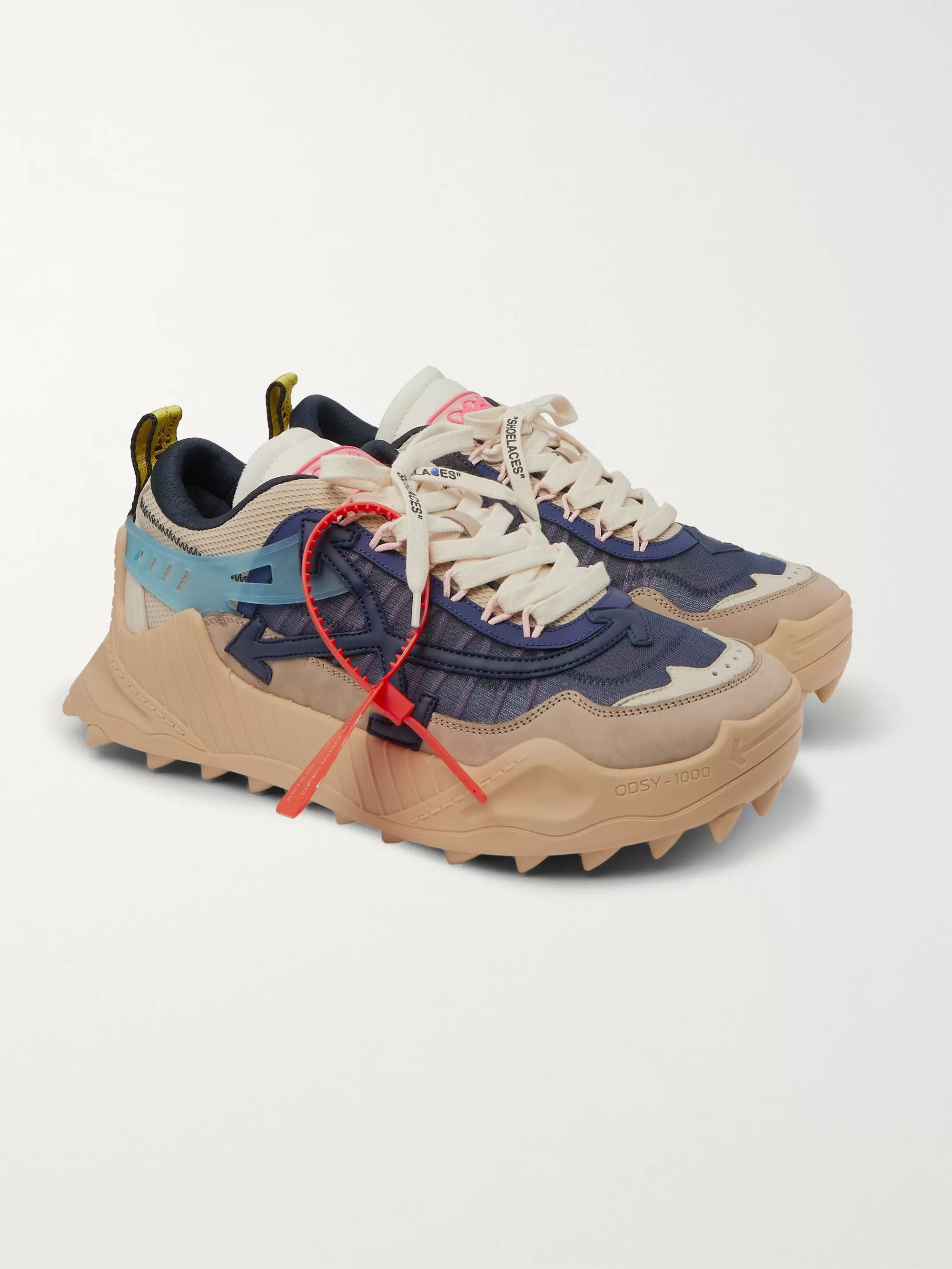 Off-White Odsy-1000 Suede, Mesh and Rubber Sneakers