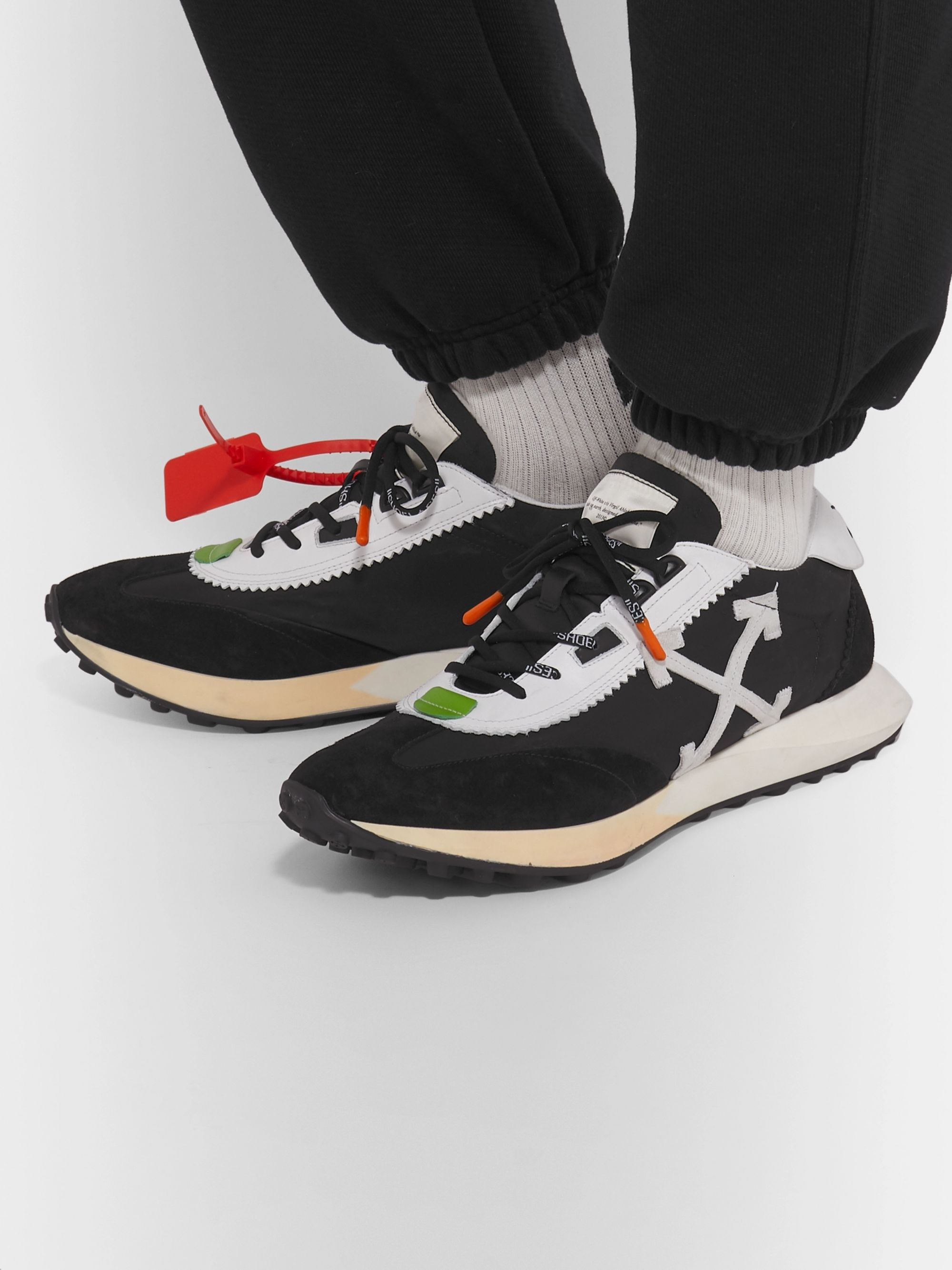Off-White Leather-Trimmed Shell and Suede Sneakers