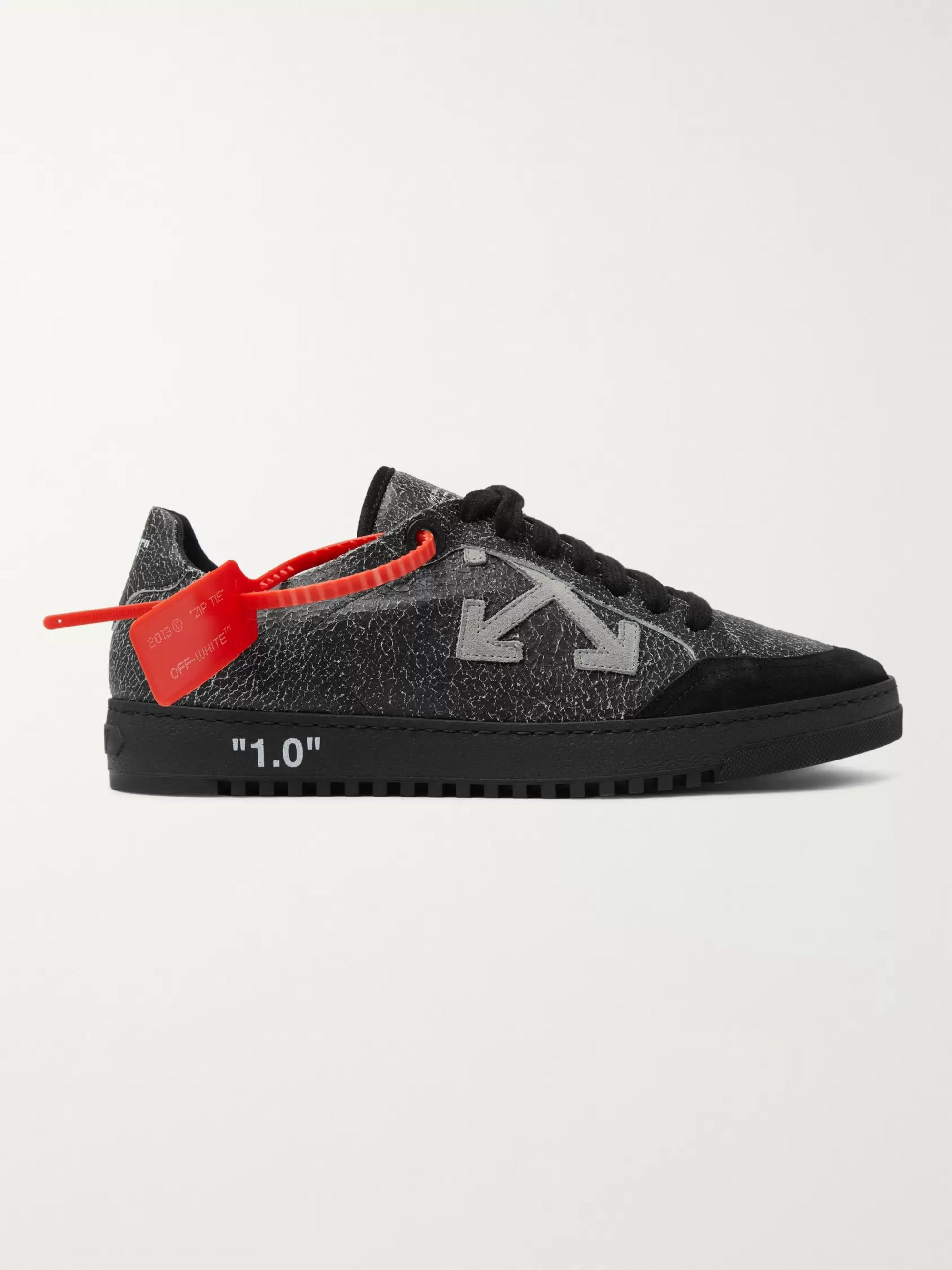 Off-White 2.0 Suede-Trimmed Cracked-Leather Sneakers