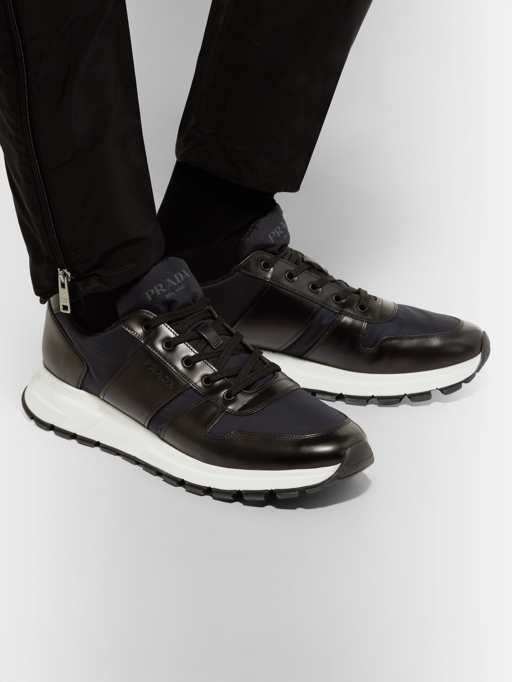 Match Race Leather Trimmed Nylon Sneakers