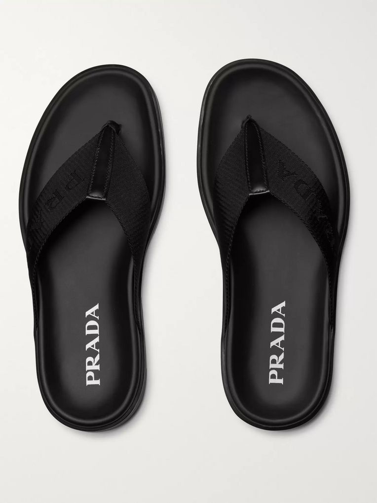Prada Leather-Trimmed Logo-Jacquard Nylon Sandals