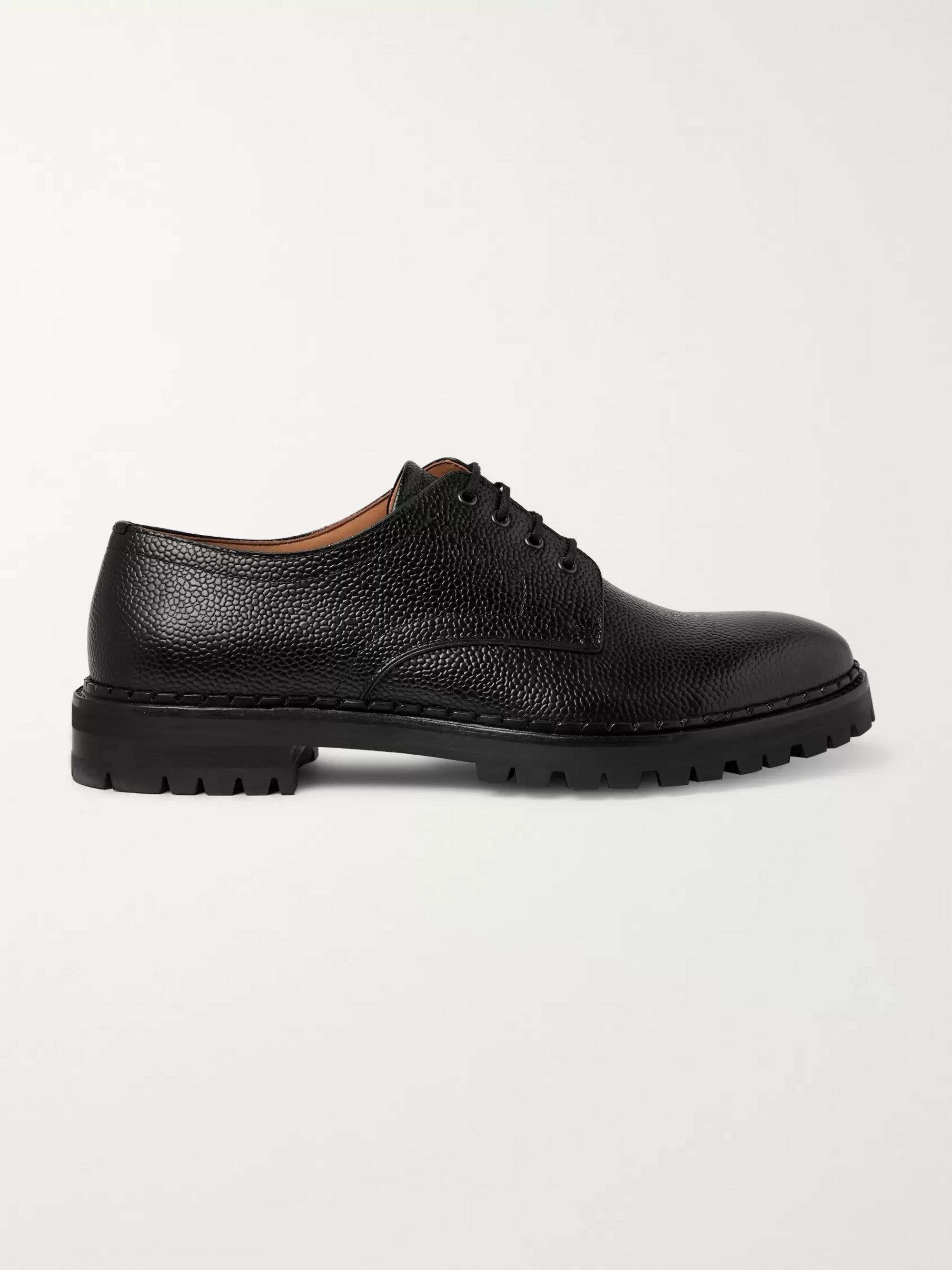 Lanvin Pebble-Grain Leather Derby Shoes