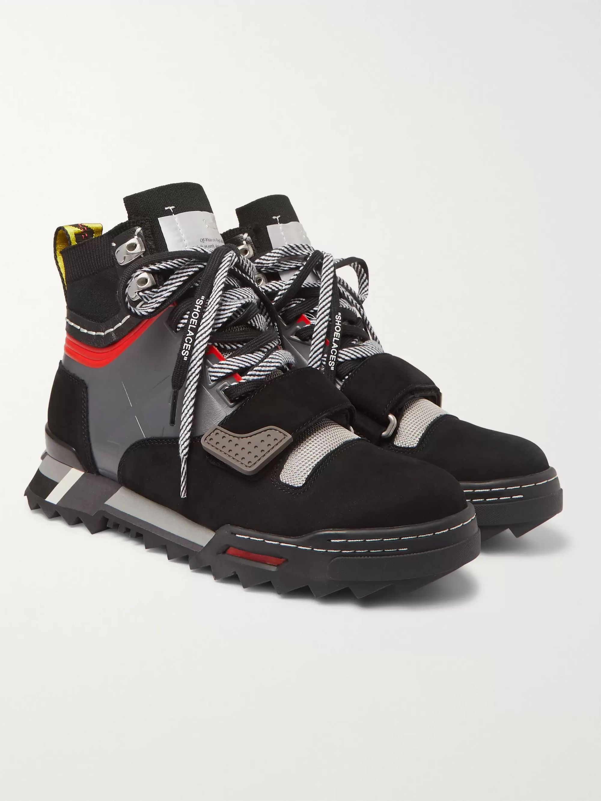 Off-White Rubber-Trimmed Suede and Mesh Hiking Sneakers