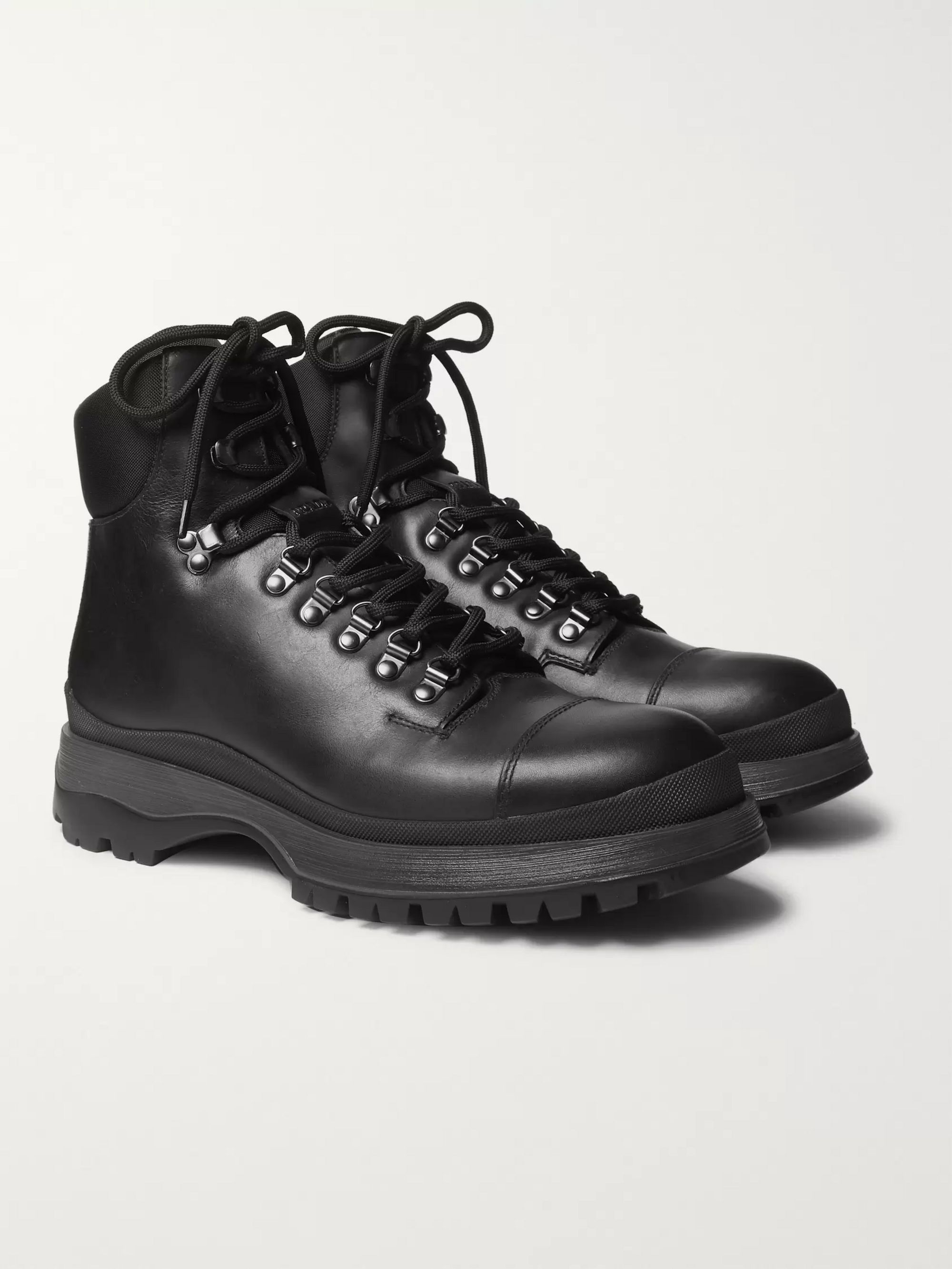 Prada Leather Hiking Boots