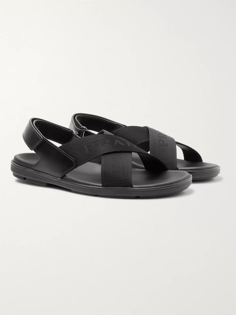 Prada Logo-Jacquard Nylon and Leather Sandals