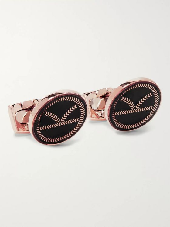Kingsman + Deakin & Francis Rose Gold-Plated and Enamel Cufflinks