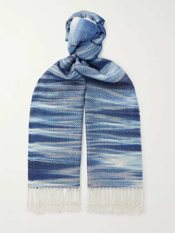 Il Bussetto Fringed Indigo-Dyed Cotton Scarf