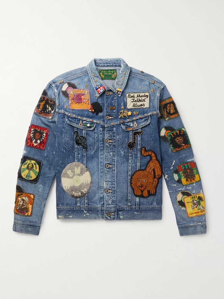 KAPITAL + Bob Marley Appliquéd Embellished Distressed Denim Jacket