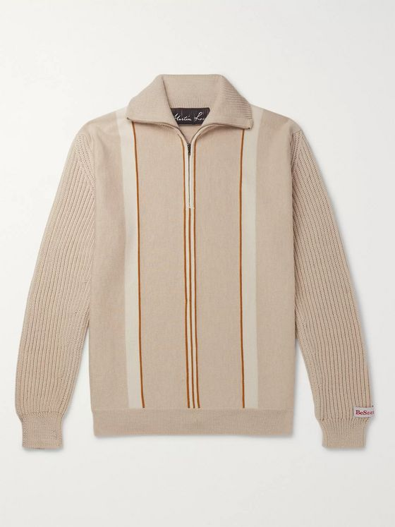 Martine Rose Striped Merino Wool Half-Zip Sweater