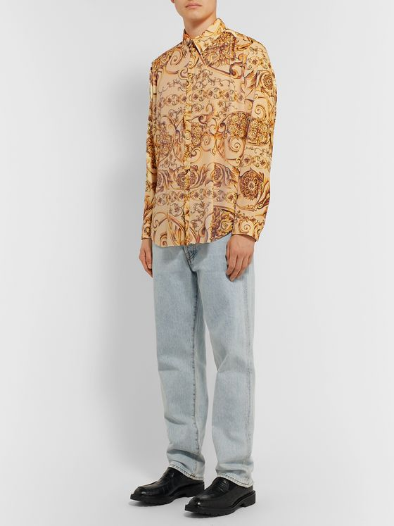 Martine Rose Oversized Printed Plissé-Crepe Shirt