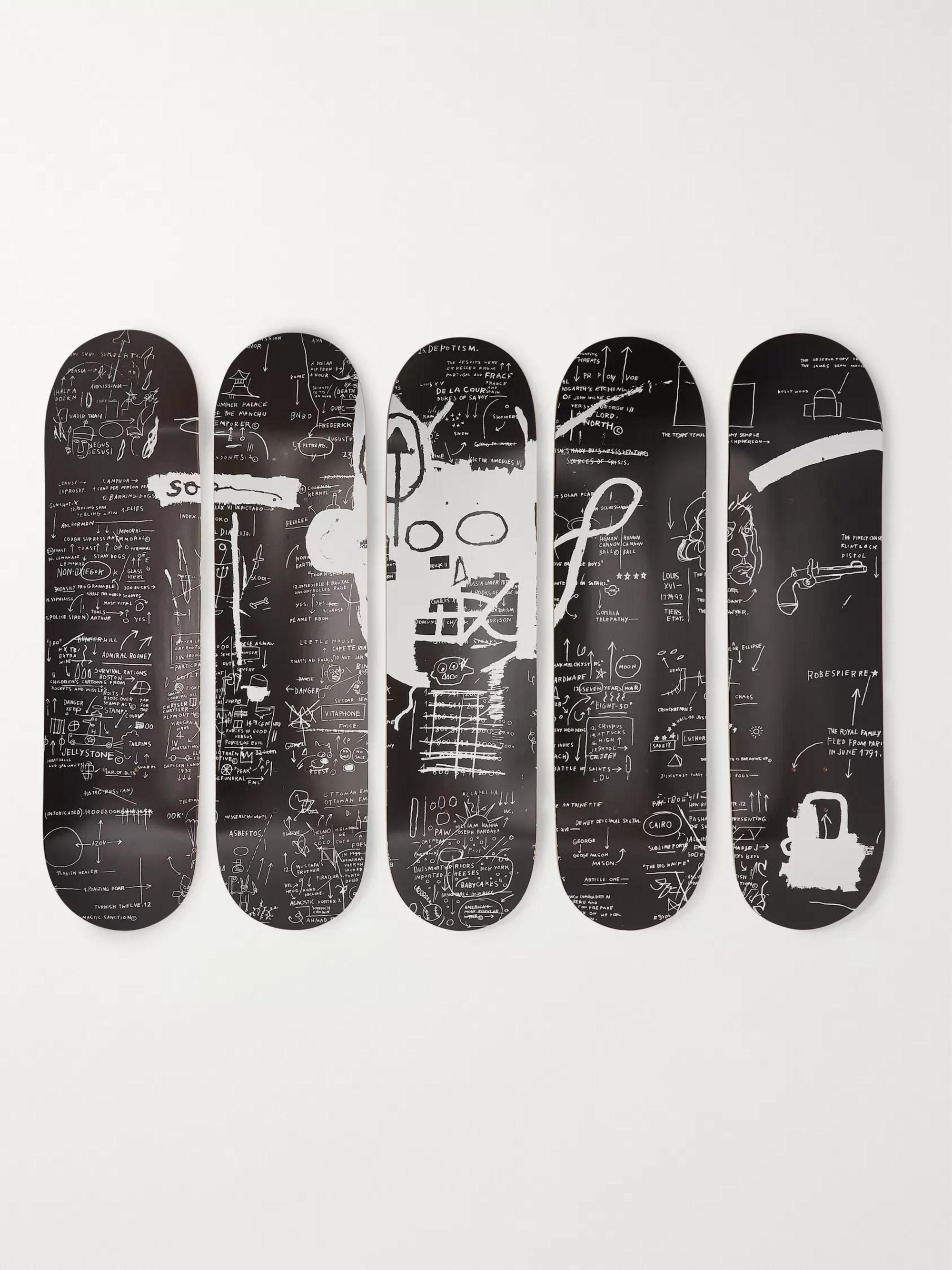 The SkateRoom + Jean-Michel Basquiat Set of Five Printed Wooden Skateboards