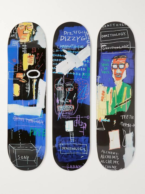 THE SKATEROOM + Jean-Michel Basquiat Set of Three Printed Skateboards