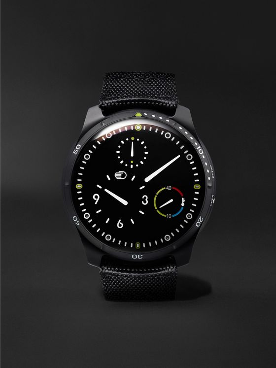 Ressence Type 5BB Automatic 46mm DLC-Coated Titanium and Leather Watch