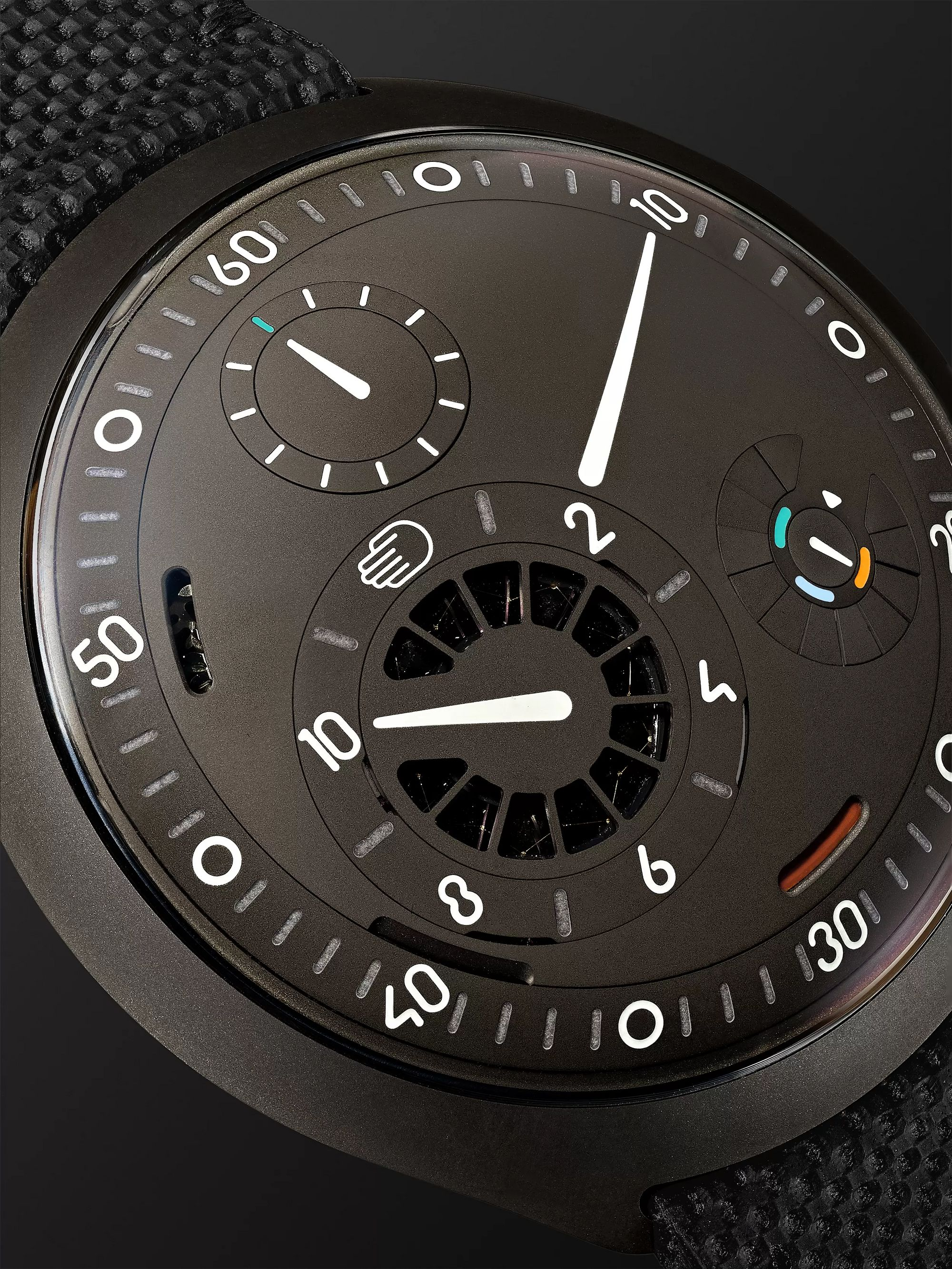 Ressence Type 2A Automatic 45mm Titanium and Leather Watch with Smart Crown Technology