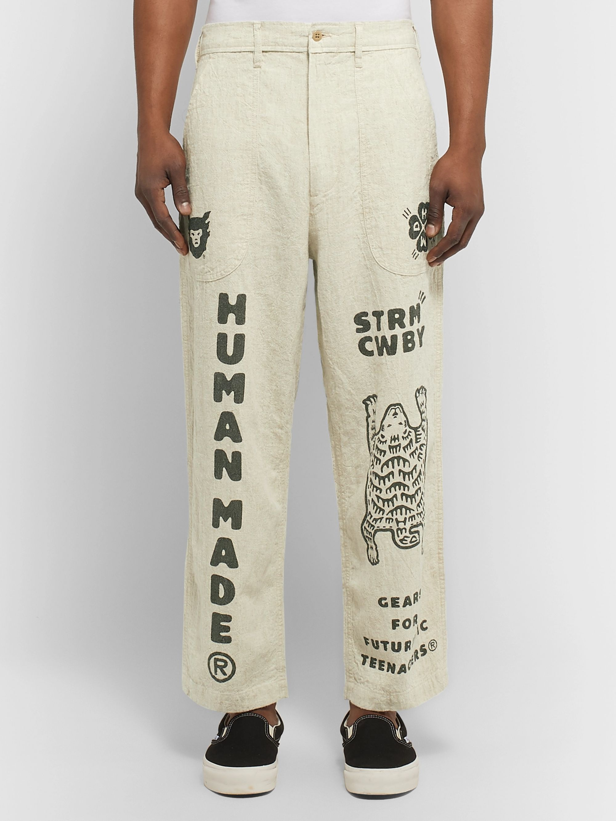 Human Made Printed Cotton and Ramie-Blend Trousers