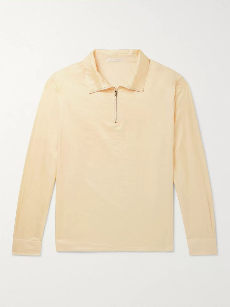 Our Legacy Cotton and Silk-Blend Half-Zip Shirt
