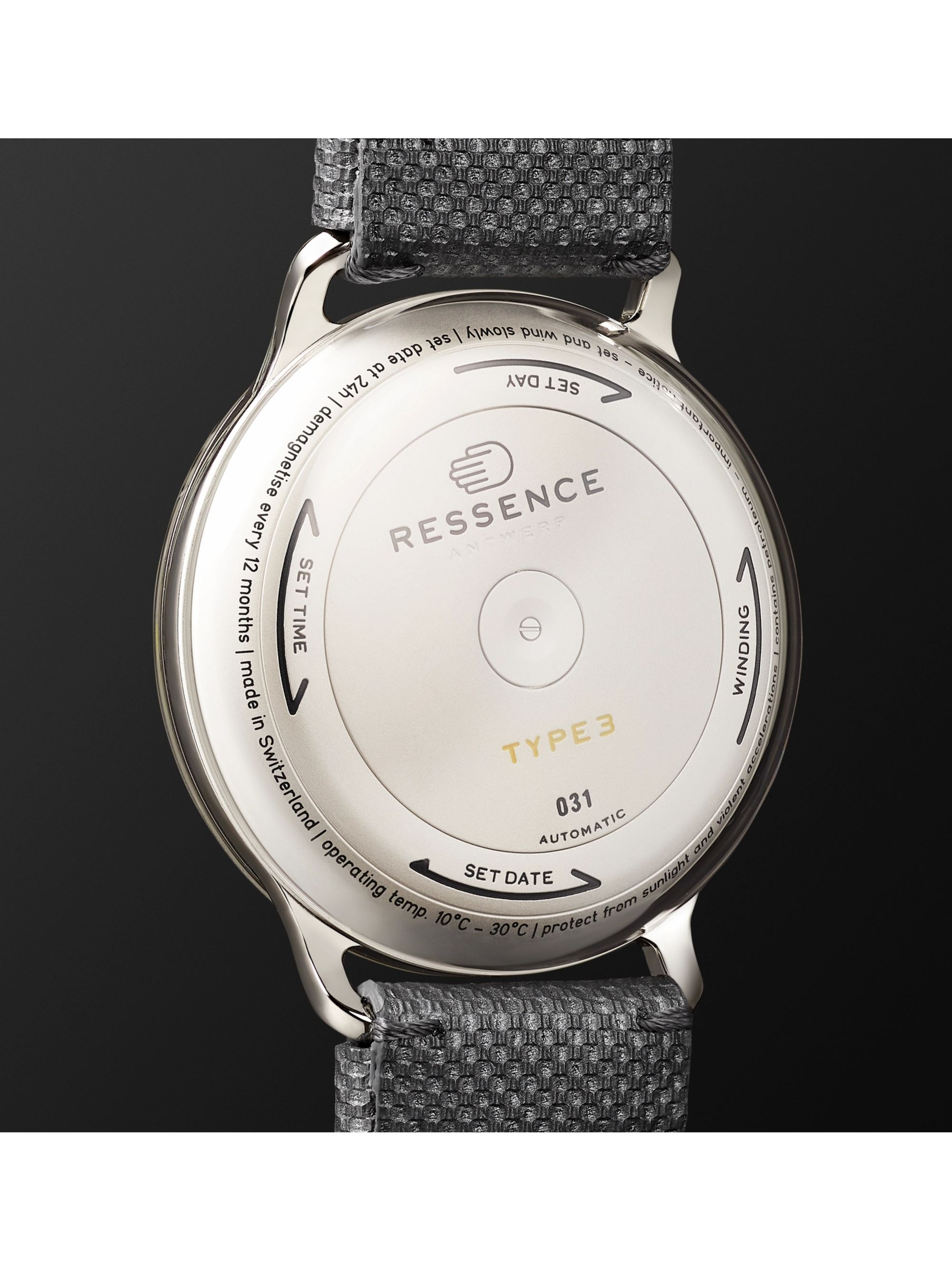 RESSENCE Type 3W Automatic 44mm Titanium and Canvas Watch