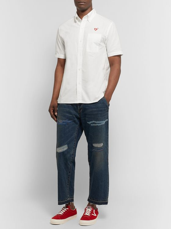 Human Made Button-Down Collar Logo-Embroidered Cotton-Ripstop Shirt