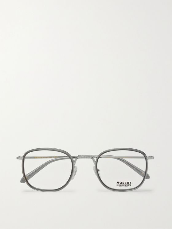 Moscot Drimmel Square-Frame Silver-Tone and Acetate Optical Glasses
