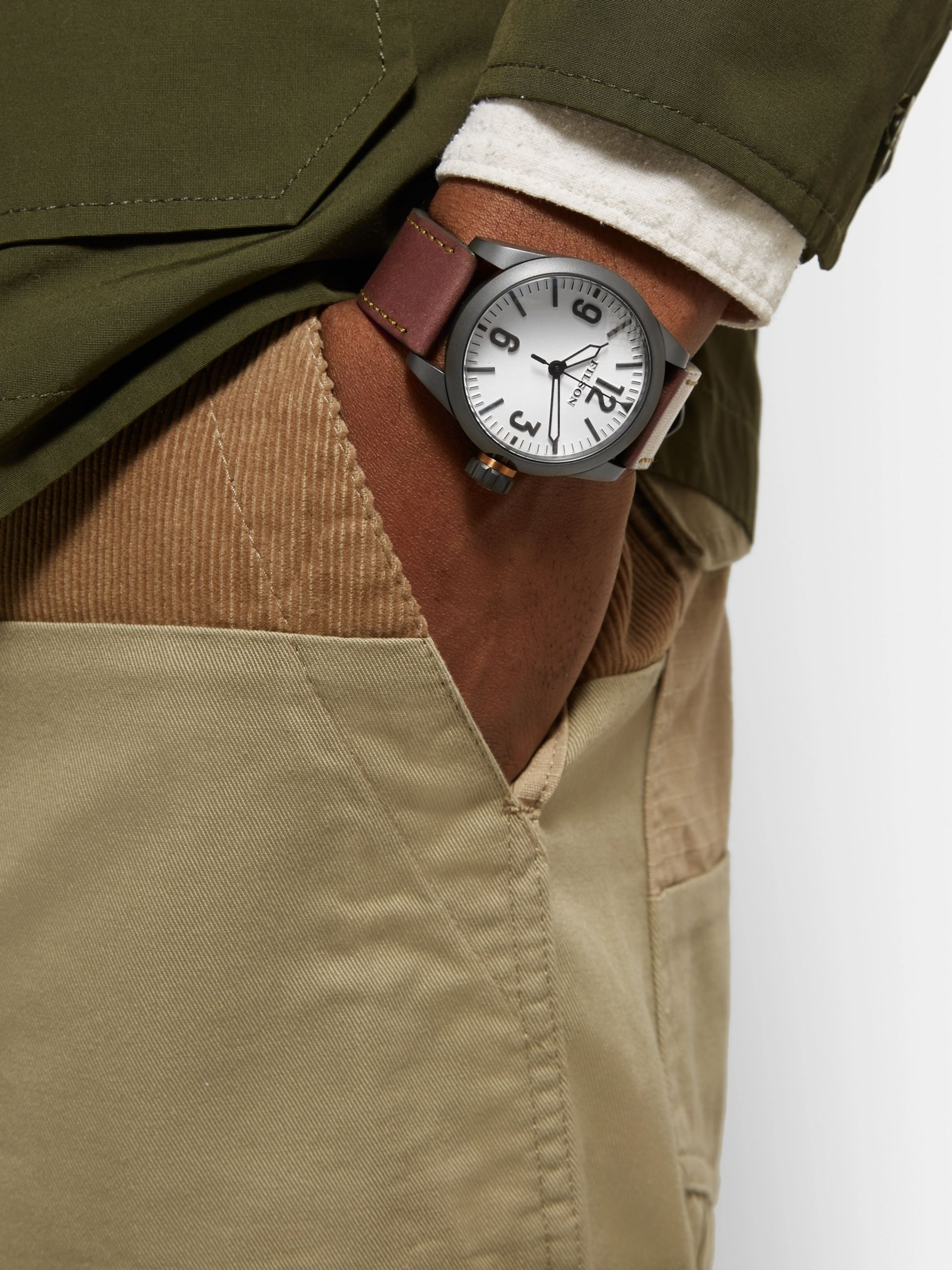 Filson Field Stainless Steel and Leather Watch