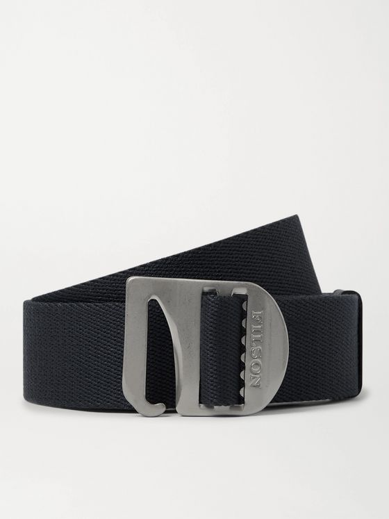 Filson Charcoal Togiak 4cm Leather-Trimmed Webbing Belt