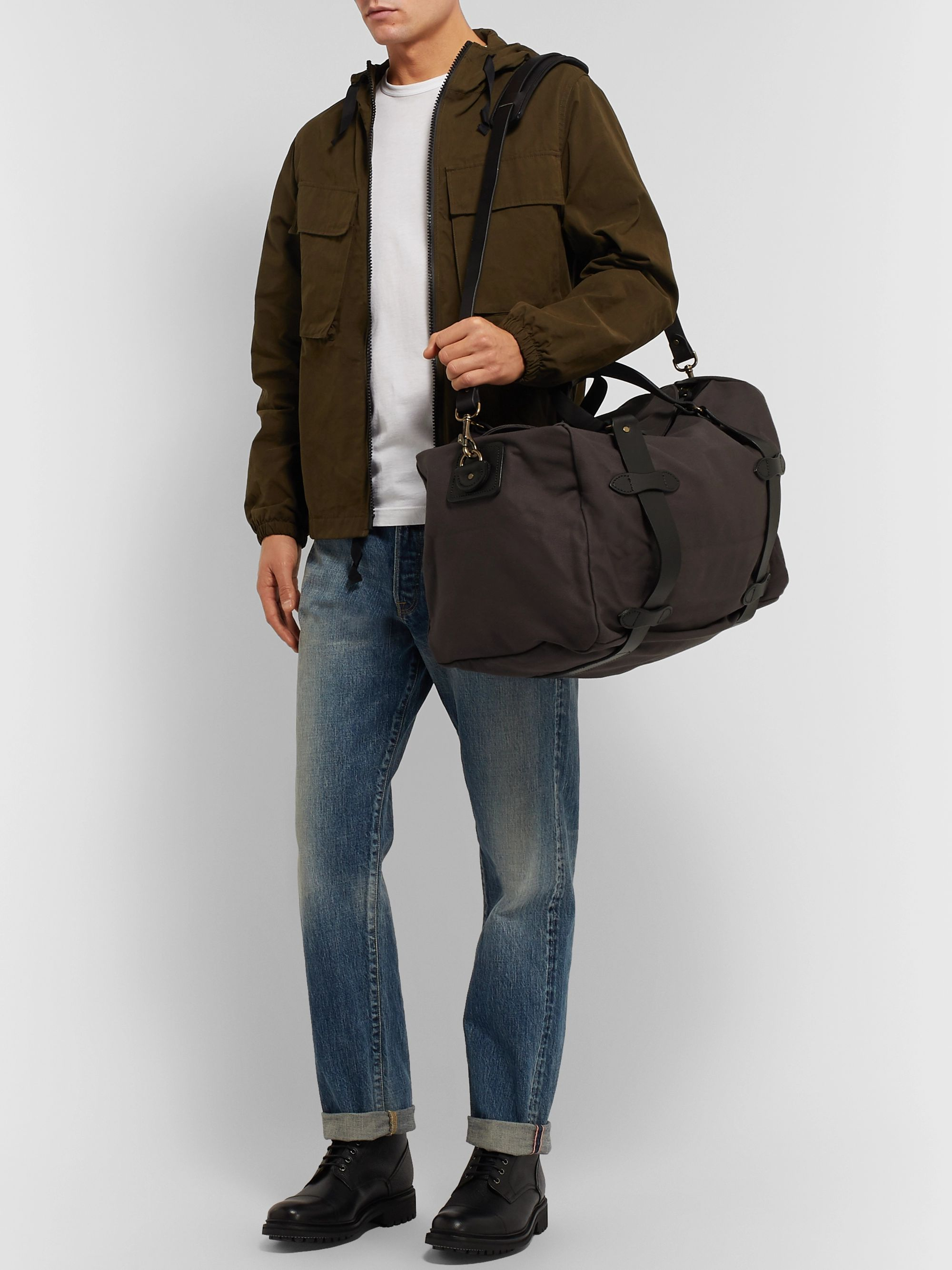 Filson Leather-Trimmed Twill Duffle Bag
