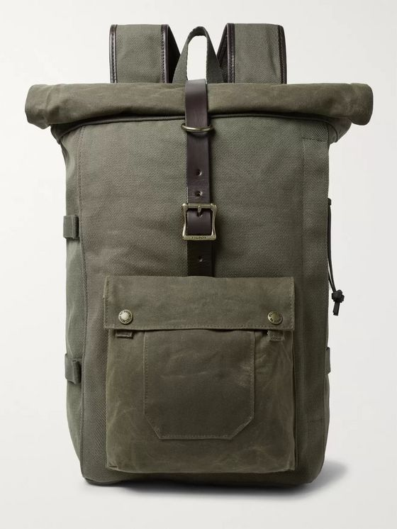 Filson Roll-Top Tin Cloth and Leather-Trimmed Twill Backpack